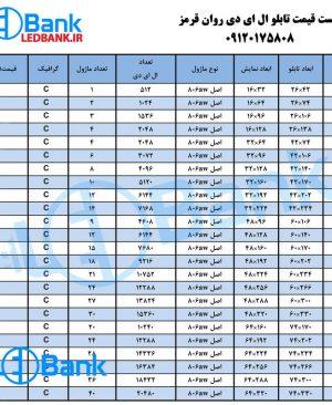 تابلو ال ای دی روان قرمز در ابعاد مختلف   لیست قیمت