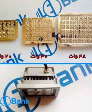 رفلکتور یکپارچه و پی سی بی پاور ال ای دی استاندارد با پروژکتور پشت درایور