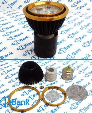 قاب لامپ ال ای دی هالوژنی 5 وات سرپیچ e27 همراه با پی سی بی