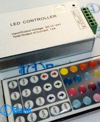 کنترل ال ای دی RGB هفت رنگ 44 کلید 12 آمپر 12-24 ولت