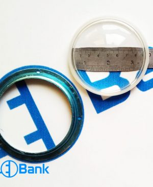 لنز محدب شیشه ایی و هولدر سوراخ دار ال ای دی 100 وات قطر 12 سانتیمتر