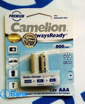 باتری نیم قلمی شارژی 2 عددی 900 میلی آمپر Camelion