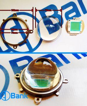 لنز به همراه هولدر نگهدارنده ال ای دی (لنز محدب 76 میلیمتر)