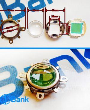 لنز و رفلکتور ال ای دی به همراه هولدر نگهدارنده (لنز محدب 44 میلیمتر)