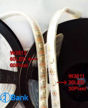 ال ای دی نواری 60 ال ای دی 60 پیکسل RGB آی سی دار ضد آب w2812