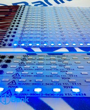 ال ای دی خطی 220 ولت آبی تراکم 72 طول 96 میلیمتر بدون روکش