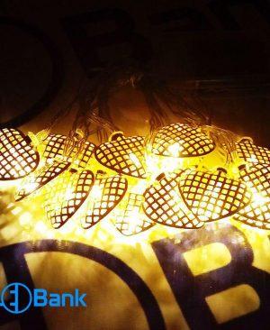 ریسه ال ای دی فلزی مدل قلب تزئیناتی رنگ زرد باتری خور