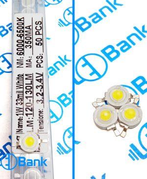 پاور ال ای دی سفید مهتابی 6,000-6,500 کلوین 1 وات 120-130 لومن