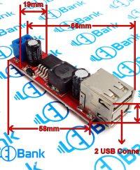 ماژول رگولاتور کاهنده ولتاژ 6 الی 40 ولت به 5 ولت 3 آمپر LM2596S با 2 پورت usb