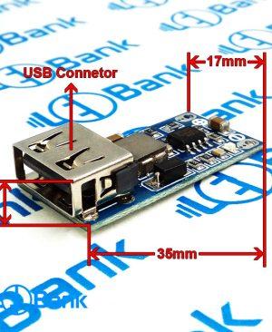 ماژول رگولاتور کاهنده ولتاژ 6 الی 26 ولت به 5.2 ولت 3 آمپر mp1584en با پورت usb