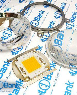 لنز 78 میلیمتر محدب شیشه ایی ال ای دی به همراه رفلکتور و نگهدارنده