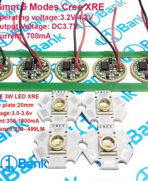 ال ای دی 3 وات کری XRE آمریکا به همراه درایور مناسب ساخت چراغ قوه با 5 مد