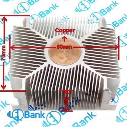 هیت سینک مس دار 80 در 70 میلیمتر مناسب نصب فن 8*8 کد 3-110