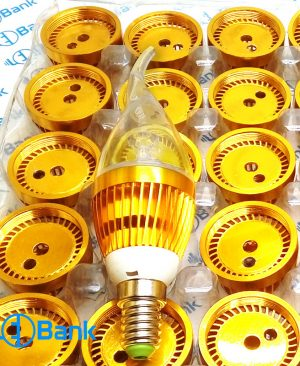 قاب لامپ ال ای دی شمعی 5 وات آلومینیوم رنگ طلایی با پی سی بی سرپیچ E14