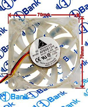 فن دلتا 70 در 70 به ضخامت 15 میلیمتر 12 ولت 0.25 آمپر