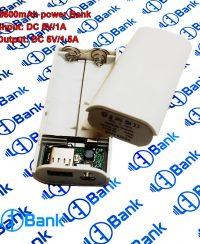 قاب و ماژول پاور بانک ظرفیت 5600mAh دو عدد باتری 18650 چراغ قوه دار