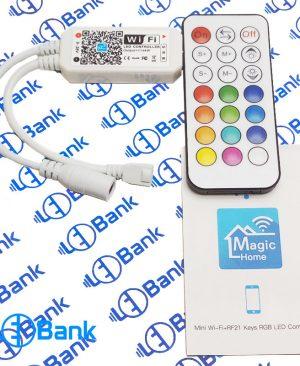 مینی کنترلر وای فای RGB ریموت رادیویی 21 کلید 144 وات ولتاژ ورودی 9 – 28 ولت