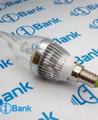 فریم شمعی 3 وات ال ای دی نقره ای با متعلقات کامل پی سی بی و لنز شفاف استاندارد پایه سرپیچ لوستری یا e14