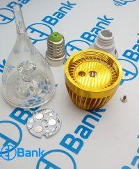 فریم شمعی 3 وات ال ای دی طلایی با متعلقات کامل پی سی بی و لنز شفاف استاندارد پایه سرپیچ لوستری یا e14