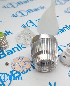 فریم شمعی 5 وات ال ای دی نقره ای با متعلقات کامل پی سی بی و لنز مات استاندارد پایه سرپیچ لوستری یا e14