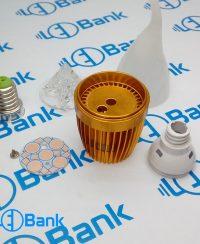 فریم شمعی 5 وات ال ای دی طلایی با متعلقات کامل پی سی بی و لنز مات استاندارد پایه سرپیچ لوستری یا e14