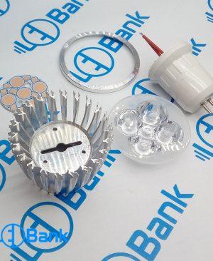 فریم هالوژنی 5 وات ال ای دی جنس بده آلومینیوم با لنز و پی سی بی استاندارد پایه سرپیچ mr16 یا سوزنی