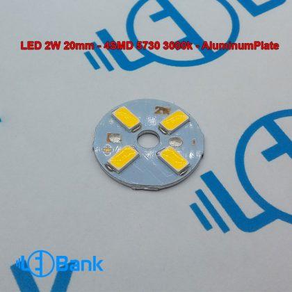 ال ای دی گرد 2 وات آفتابی گرم قطر 20 میلیمتر تراکم 4 عدد چیپست 5730 ولتاژ کاری 6.8 الی 7.6 ولت