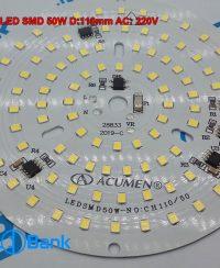 ال ای دی گرد 50 وات 220 ولت برق خانگی سفید مهتابی بدون نیاز به درایور برای راه اندازی قطر 110 میلیمتر