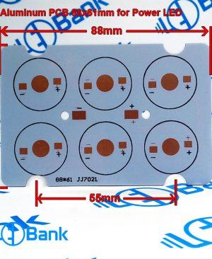 پی سی بی پاور ال ای دی 6 وات آلومینیوم ابعاد 88 در 61 میلیمتر