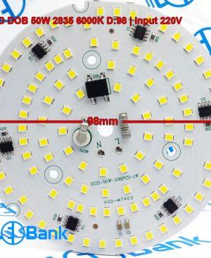 ال ای دی 50 وات گرد مهتابی 220 ولت تراکم 108 عدد چیپست 2835 قطر 98 میلیمتر