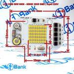 ال ای دی 50 وات سفید ورودی ولتاژ 220 ولت مستقیم چیپست 2835 با رزیستور و کاپاسیتور مرغوب