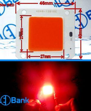 ال ای دی قرمز 50 وات فلیپ چیپ ولتاژ ورودی 30 الی 34 ولت 1500 میلی آمپر 46 در 40 میلیمتر