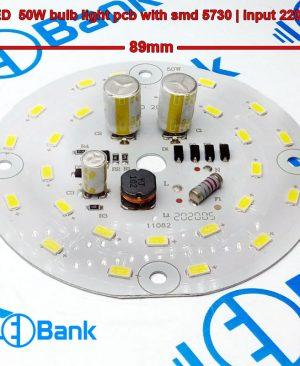 ال ای دی 50 وات گرد ورودی ولتاژ 220 ولت مستقیم بدون درایور چیپست 5730 قطر ماژول 89 میلیمتر