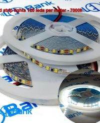 ال ای دی نواری 12 ولت سفید 7000 کلوین تراکم 120 عدد در متر عرض 5 میلیمتر