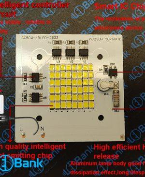 ال ای دی 50 وات 220 ولت برق مستقیم لومن بسیار بالا طراحی منحصر به فرد