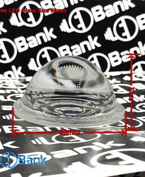 لنز ال ای دی محدب شیشه ای قطر 66 میلیمتر زاویه نسبتا بسته
