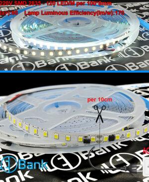 ال ای دی مهتابی نواری 220 ولت متناوب بدون درایور برش هر 10 سانتی متر